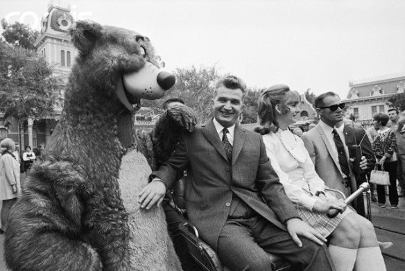 Ceausescu at Disneyland with his children Zoia and Nicu in 1970